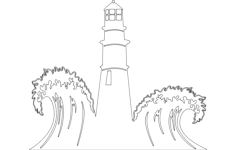 lighthouse with waves scenery Free Dxf for CNC