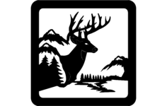 deer sitting scene Free Dxf for CNC