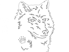 wolf head Free Dxf for CNC