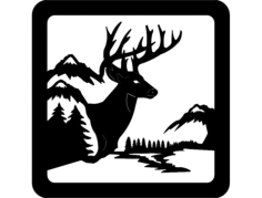 deer sceneFree Dxf for CNC