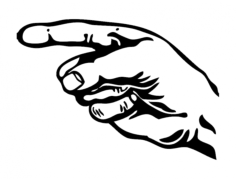 hand with pointing finger 2 Free Dxf for CNC