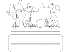 music band Free Dxf for CNC