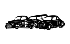 three old cars Free Dxf for CNC