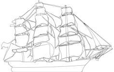 clipper ship Free Dxf for CNC