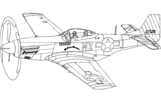 p51 mustang silhouette aircraft Free Dxf for CNC