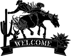 cowboy welcome sign Free Dxf for CNC