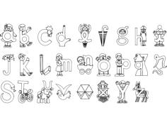 alfabeto ilustrado Free Dxf for CNC