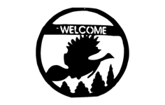 welcome bird scene Free Dxf for CNC