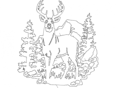 deer forest Free Dxf for CNC