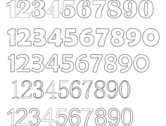 12345 number fonts Free Dxf for CNC