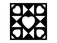 barn quilt hearts Free Dxf for CNC