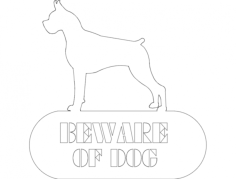 boxer beware of dog Free Dxf for CNC