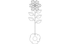 rose plant Free Dxf for CNC