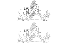 cowboy and rodeo scene Free Dxf for CNC