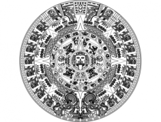 aztec sun stone vectors Free Gcode .TAP File for CNC
