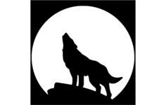 wolf with moon Free Dxf File for CNC