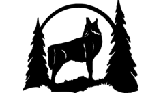 howling wolf silhouette Free Dxf File for CNC