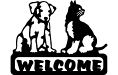 welcome sign dog and cat Free Dxf File for CNC
