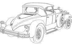vintage car Free Dxf File for CNC