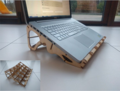 laser cut 17inch laptop stand 3,8mm plywood Free Dxf File for CNC