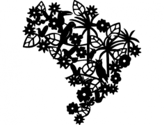 brasil com bicho e folha  Free Dxf File for CNC