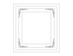 frame with floral corners Free Dxf File for CNC