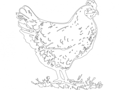 hen Free Dxf File for CNC