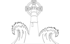 lighthouse with waves Free Dxf File for CNC