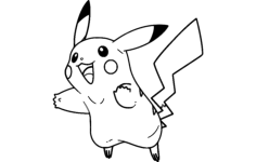pikachu 2 lines Free Dxf File for CNC