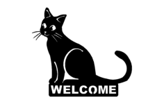 cat welcome Free Dxf File for CNC
