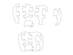 słoń (elephant jigsaw puzzles) Free Dxf File for CNC