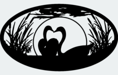 swan pair Free Dxf File for CNC