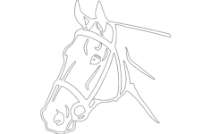 horse head detailed silhouette Free Dxf File for CNC
