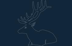 animal deer sitting Free Dxf File for CNC