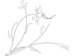 plant with flower Free Dxf File for CNC