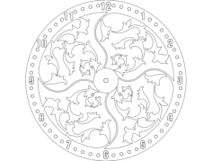 clock floral design Free Dxf File for CNC