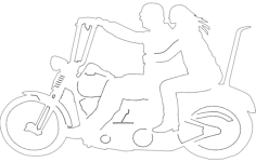 two up motorcycle riders Free Dxf File for CNC