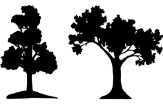 trees silhouette vector Free Dxf File for CNC