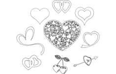 valentine's day hearts Free Dxf File for CNC