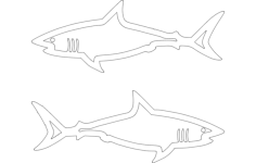 sharks Free Dxf File for CNC