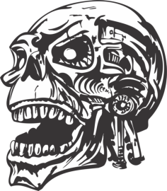 skull vector head Free Dxf File for CNC