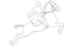 horse with rider Free Dxf File for CNC