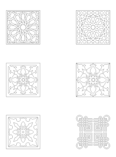 collection of square ornaments Free Dxf File for CNC