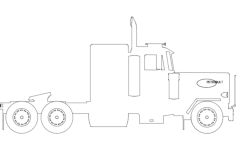 silhouette of peterbilt truck Free Dxf File for CNC