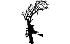 witch crash silhouette Free Dxf File for CNC