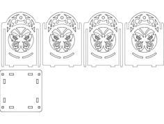 светильник бабочка 100х100х130 4мм Free Dxf File for CNC