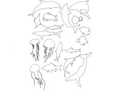 siluety.morskih.ryb Free Dxf File for CNC