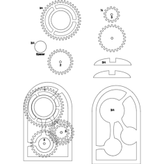 wooden gear clock Free Dxf File for CNC