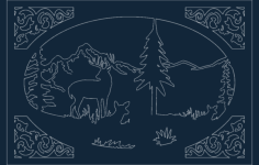 deer cabin scene Free Dxf File for CNC