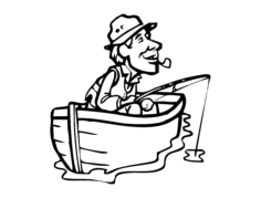 fisherman with cigar in boat Free Dxf File for CNC